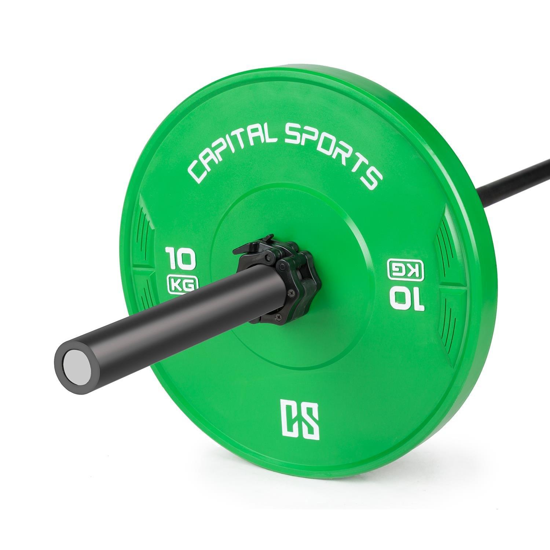 Capital Sports Nipton • Discos de peso • Discos para barras • Goma endurecida • 10 kg • Dimensiones de competición • Orificio estándar de 50,4 mm para todo ...