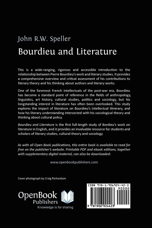 bourdieu and literature john speller 9781906924423 amazon com books