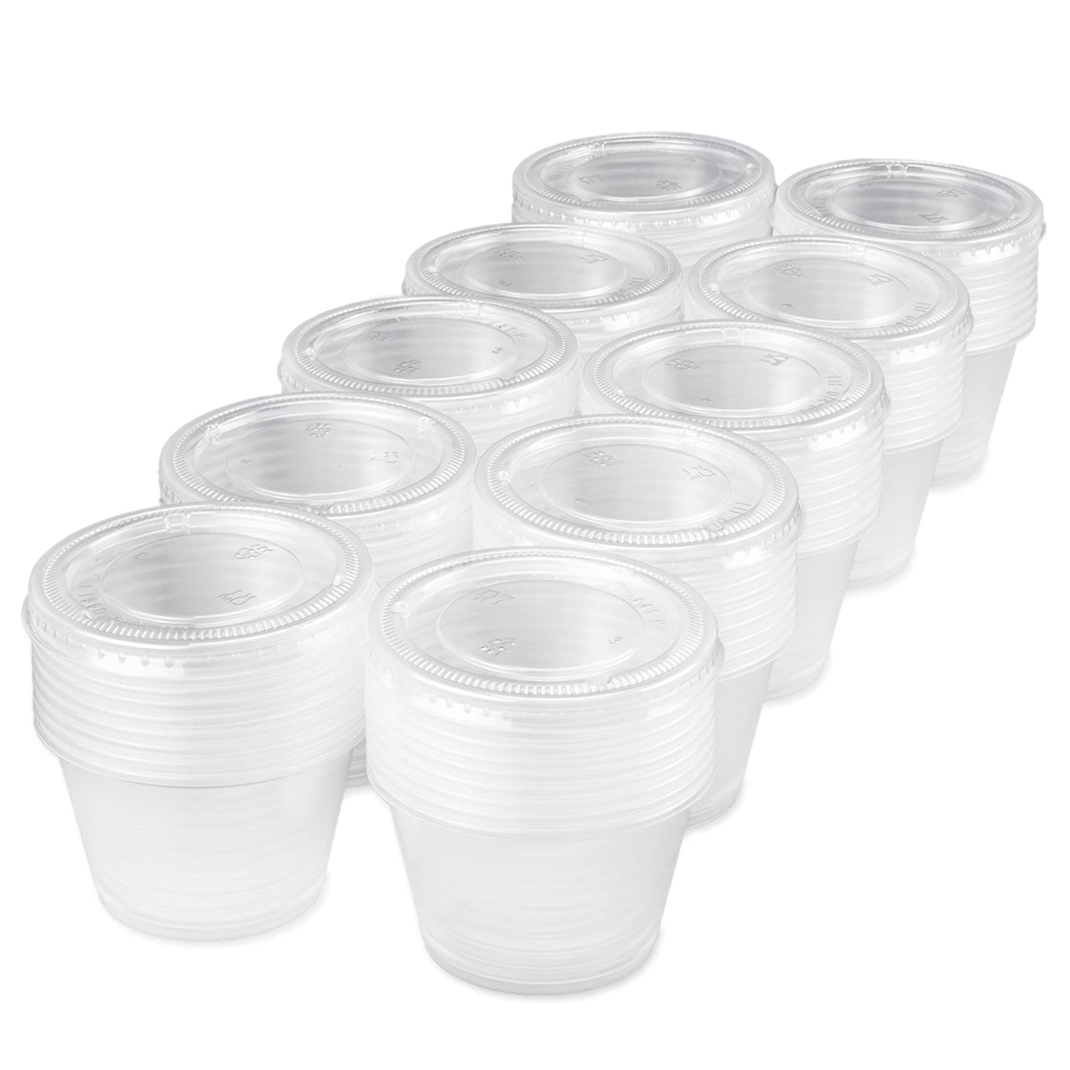 100-pack of Disposable Clear Plastic Condiment Storage Cups with Lids - Choose 2 oz. or 4 oz. - For Restaurant, Home, Gelatin Shots by Back of House Ltd. (4 oz.)