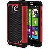 Nokia Lumia 635 Case, Nokia Lumia 630 Case, MagicMobile [Dual Armor Series] Durable [Impact Shockproof Resistant] Double Layer Cover [Hard Shell] + [Flexible Silicone] Case for Nokia Lumia 630 / 635 - Black - Red