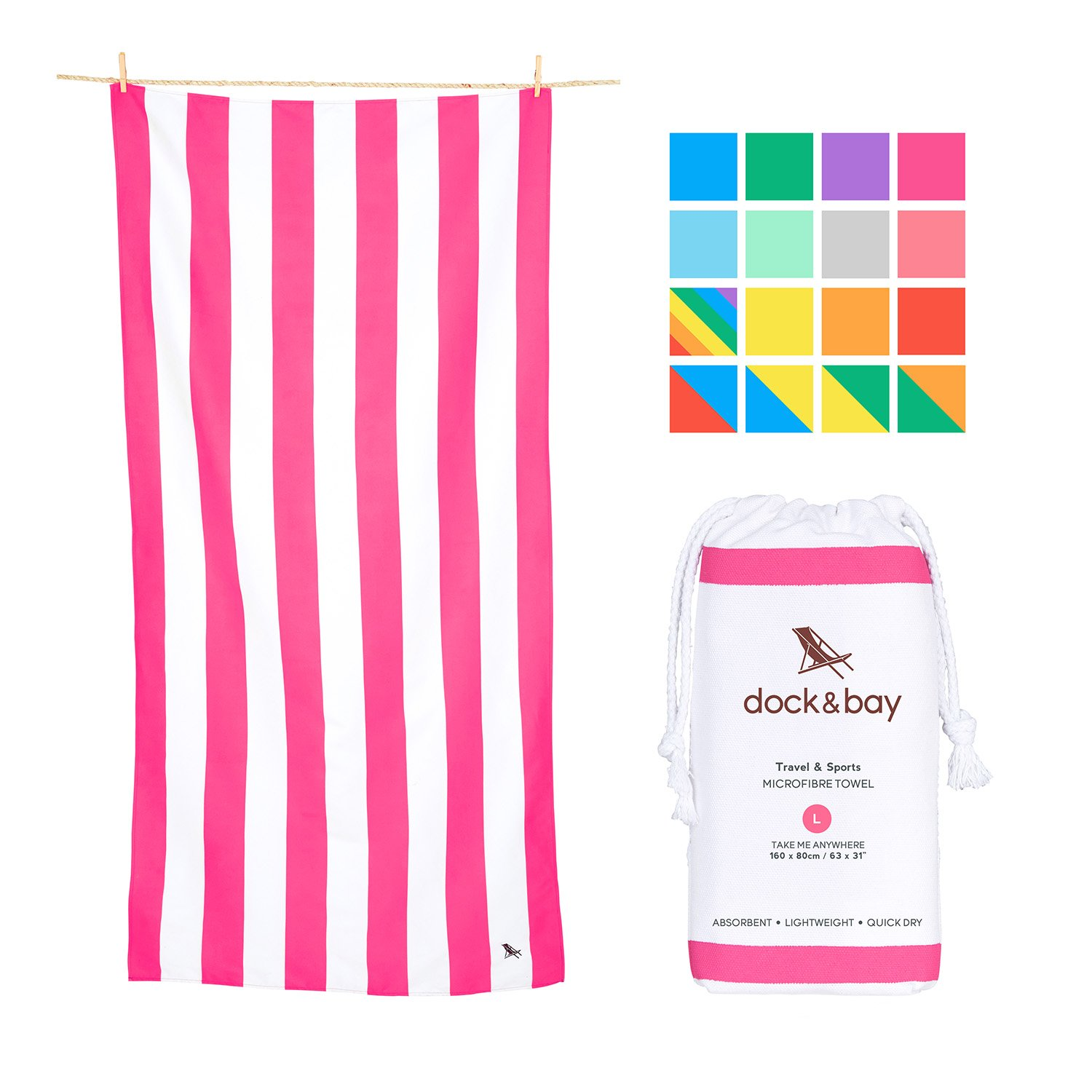 Dock & Bay Compact Beach Towel for Kids - and Adults, Travellers, Swimmers - Phi Phi Pink, Large (63x31) - Lightweight Towel Includes Travel Pouch