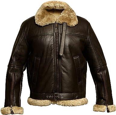 Aviator RAF B3 Flying Bomber Fur Shearling Sheepskin Flying WWII Leather Jacket
