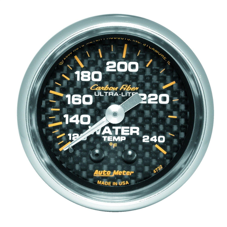 Auto Meter 4732 Carbon Fiber 2-1/16' 120-240 F Mechanical Water Temperature Gauge