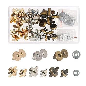 Broches Magnéticos,ZERHOK,30 sets,Cierre magnetico bolso,Broche Imán metálicos para artesanía y amas en hacer bolso manual y costurar chaqueta o ...