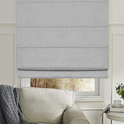 Artdix Roman Shades Blinds Window Shades – Light Grey 54 W x 60L Inches Blackout Solid Thermal Fabric Custom Made Roman Shades for Windows, Doors, Kitchen, French Doors