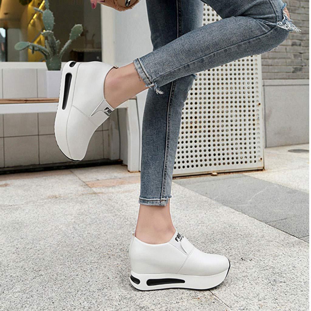 LHWY Zapatillas Mocasines de Deportes Moda para Mujer Casual Zapatillas sin Cordones Plataformas Gruesas Zapatillas de Deporte Zapatos Cu/ñas