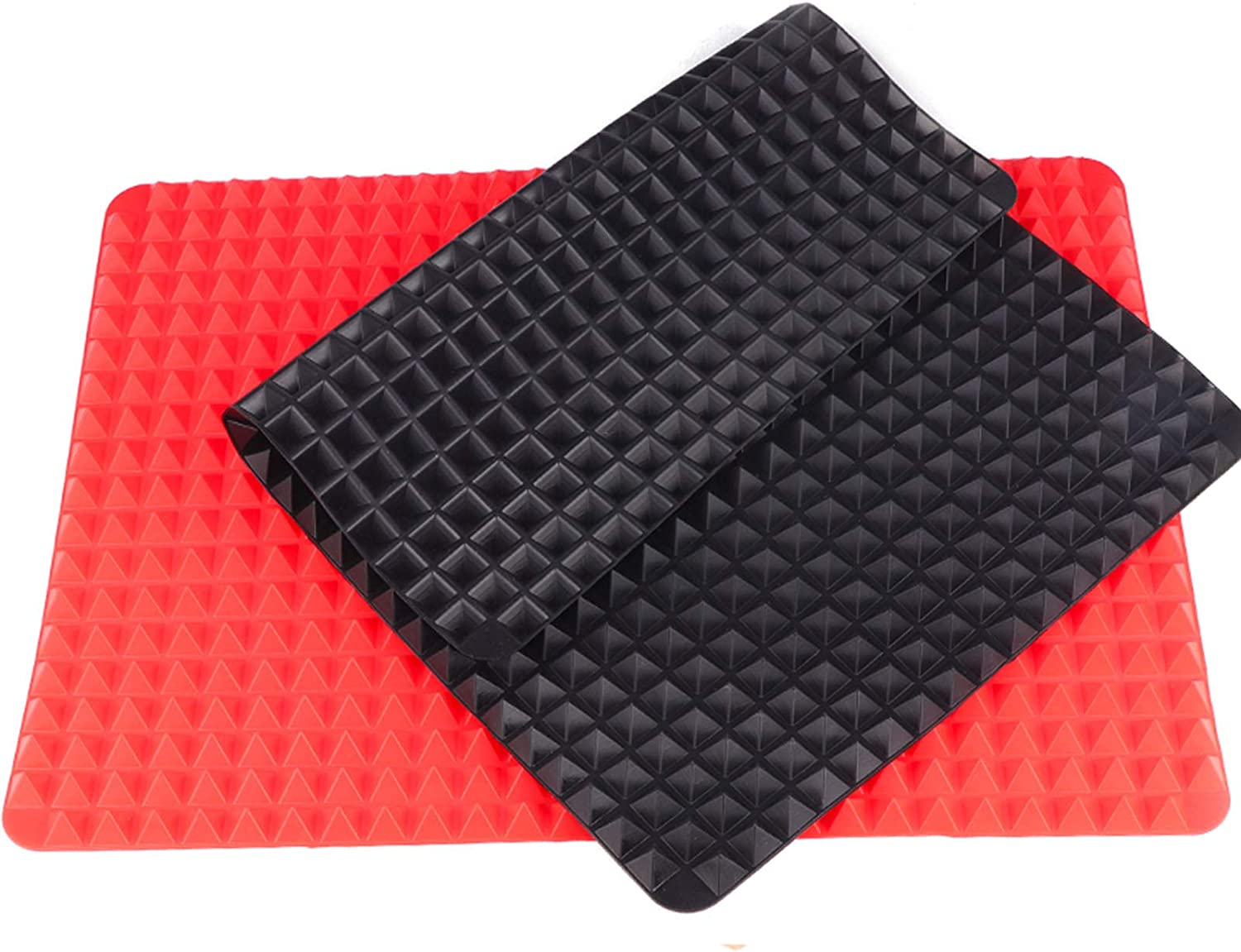 Silicone Pyramid Baking Mat Cooking Pan Value Pack, Non-Stick Healthy Food Grade Fat Reducing Sheet For Oven Grilling BBQ (2 Pack Large-Red&Black)