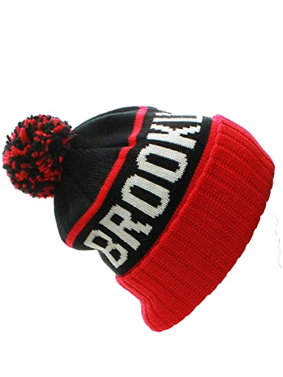 8d367477cf0 American Cities Brooklyn NY Champions Cuff Cable Knit Pom Pom Beanie Hat Cap
