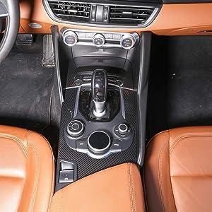 TongSheng ABS Carbon Fiber Center Console Gear Shift Panel Trim 2pcs for Alfa Romeo Giulia 2017 Interior Accessories