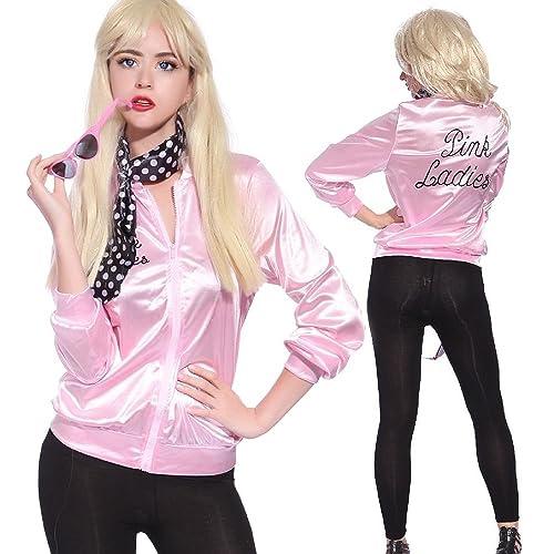 Mythgift Pink Lady Chaqueta Womens 50s Fantasía Disfraz Rock Roll Lady con bufanda