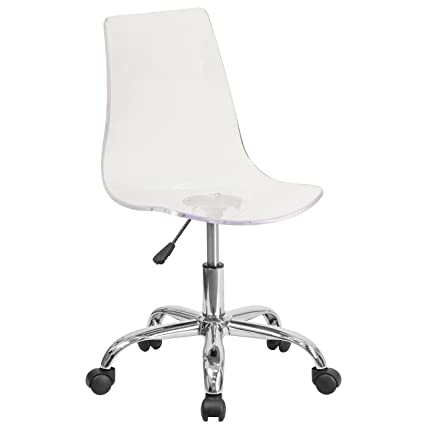 Attirant Flash Furniture Contemporary Transparent Acrylic Swivel Task Chair With  Chrome Base