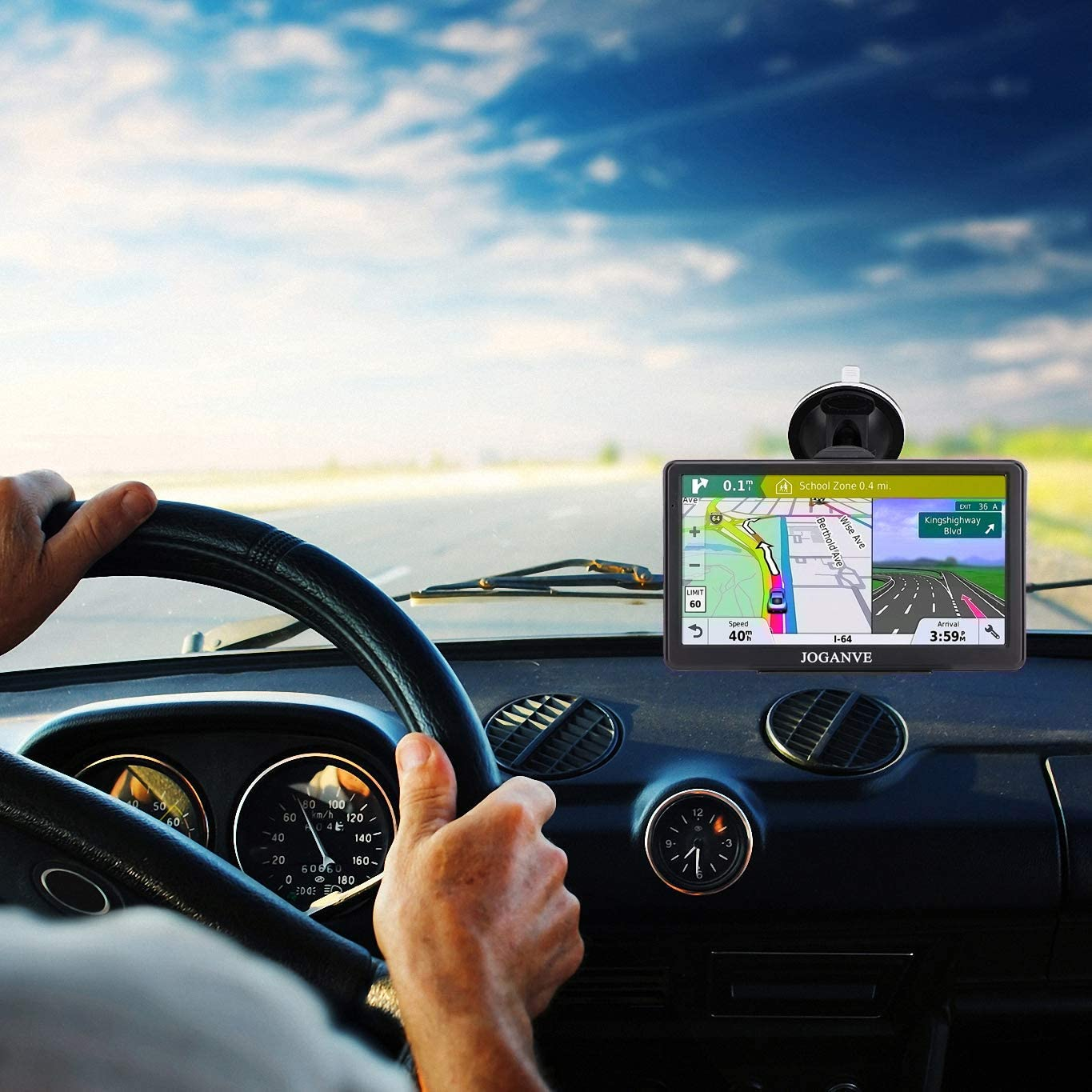 7-inch Display 256MB-8GB Real Voice Broadcast Route US 2020 Map Free Map Update for Life GPS Navigation for Car