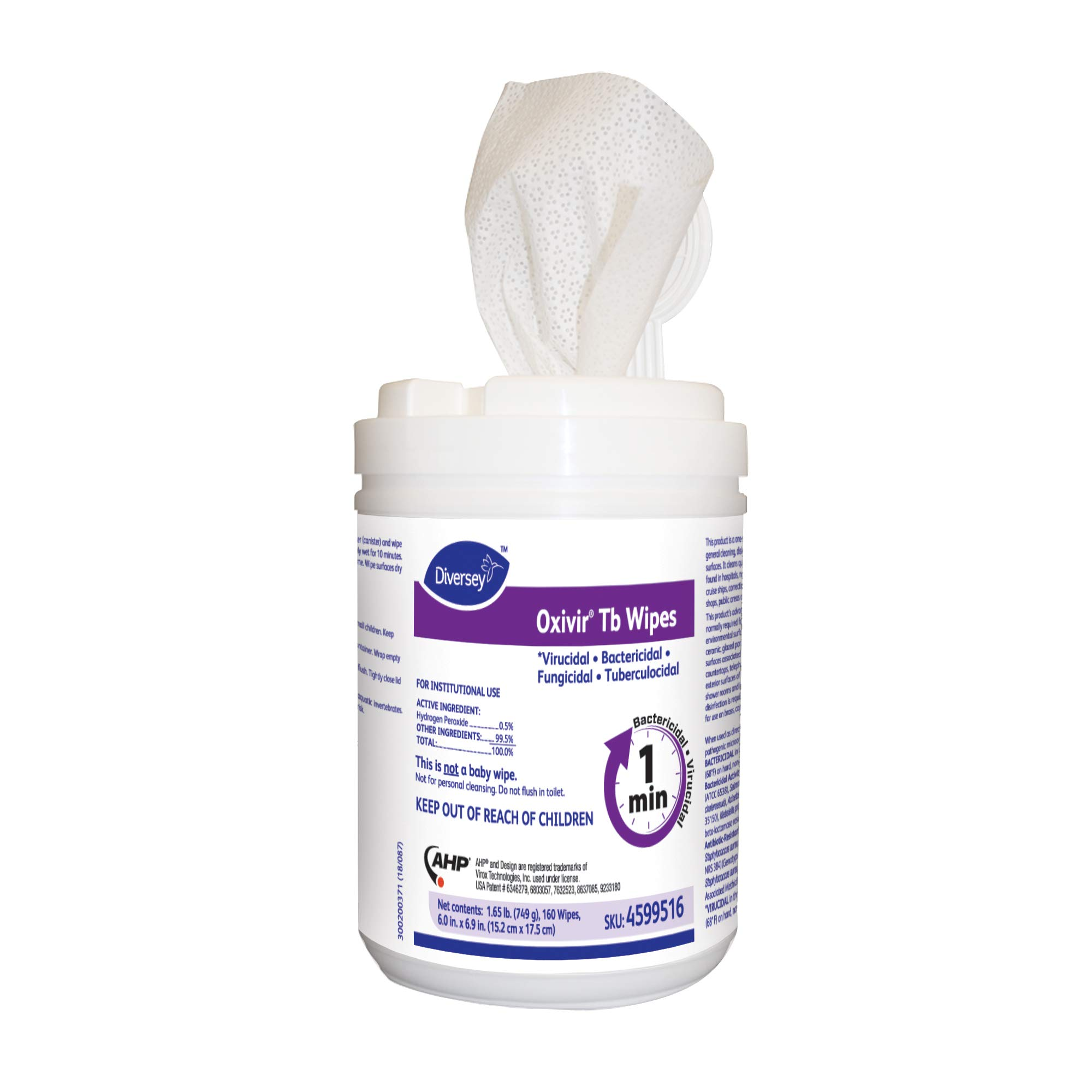 Diversey Oxivir Tb Disinfecting Wipes Value Pack, 6''x 7'' Wipe Size, 1920 Wipes (12 Packs of 160 Wipes)