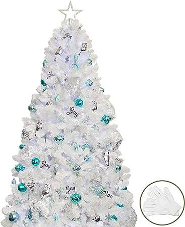Albero Di Natale Argento E Blu.Busybee Albero Di Natale Da 210 Cm Con 360 Luci A Led E Ornamenti Da 135