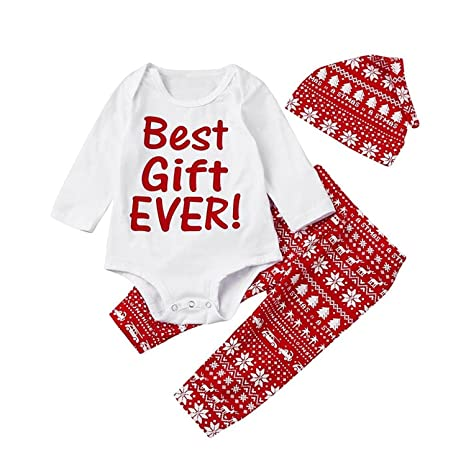 6fb6e1b96604 Amazon.com  3PCS Baby Girls Boys Outfit Christmas Romper Pants Hat ...
