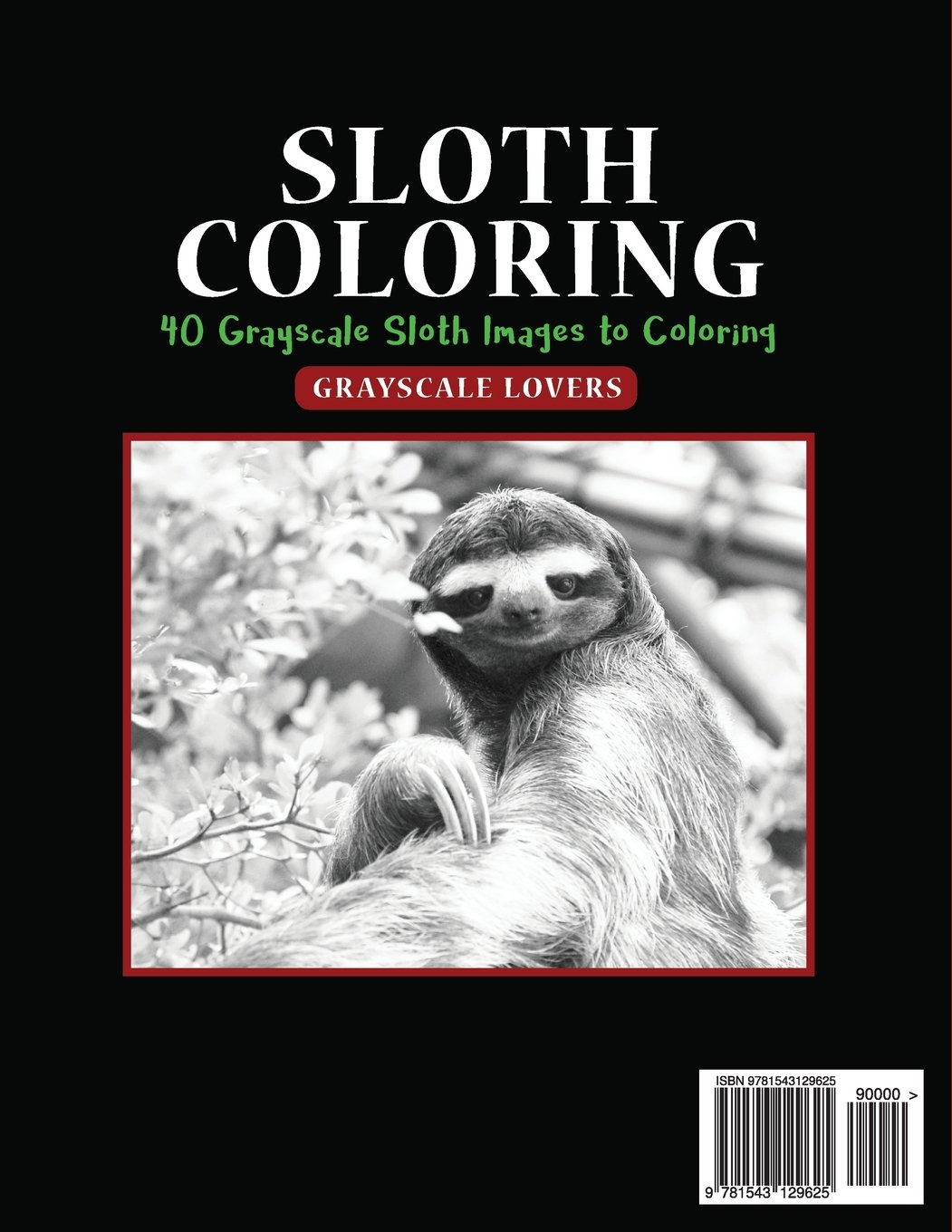 amazon com sloth coloring fantastic super cute 40 grayscale slot