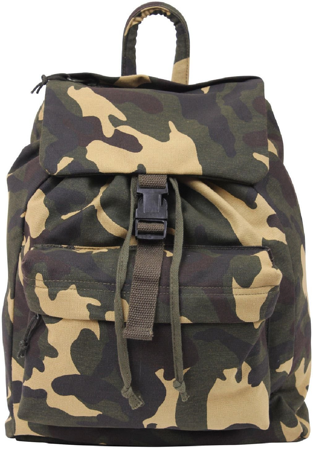 Heavy Canvas MilitaryバックパックDay Packナップサック迷彩リュックサックArmyバッグ  Woodland Camouflage B07DG4SJ7C