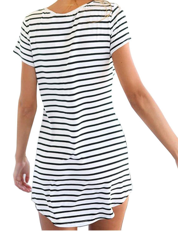 JOTHIN Damen V-ausschnitt Kurz Ärmel Striped Kleider Sommerkleid  Strandkleider-Form Shirt S M L XL: Amazon.de: Bekleidung