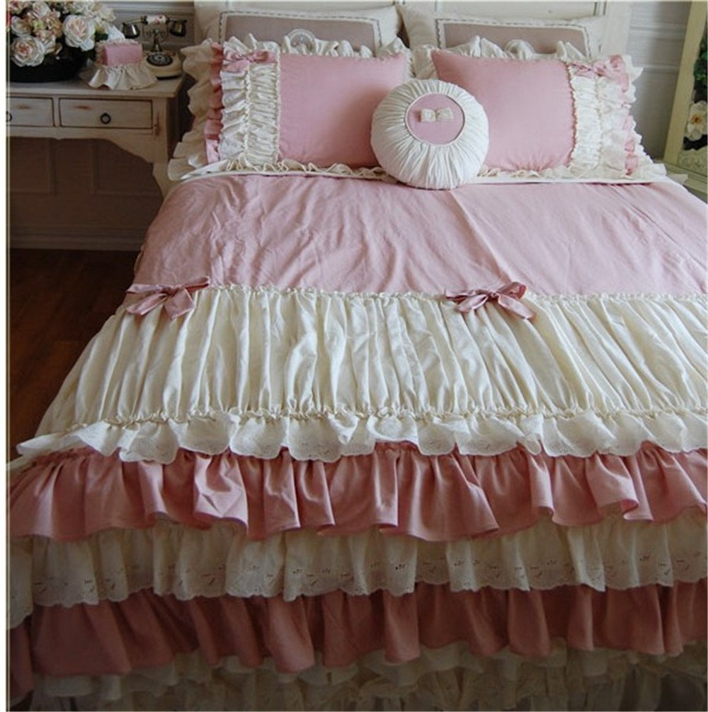 Lotus Karen Dark Pink Cute Bow-knots Ruffles Korean Bedding Set For Girls Bedding Twin Home Textile Pleated 4PC Cotton Duvet Cover Set,1Duvet Cover,1Bedskirt,2Pillowcases King