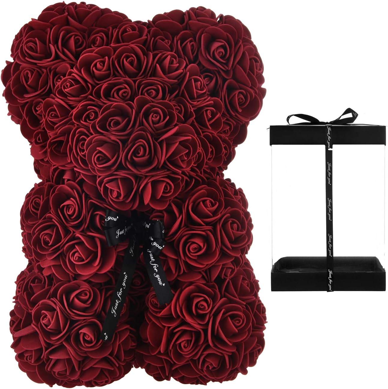 Rose Bear - Rose Teddy Bear 10 inch Hugz Teddy Flower Bear - Over 250 Dozen Artificial Flowers - Valentines Day, Anniversary & Bridal Showers Clear Gift Box (Burgundy)