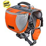 Lifeunion Adjustable Service Dog Supply Backpack Saddle Bag for Camping Hiking Training (Orange, L)