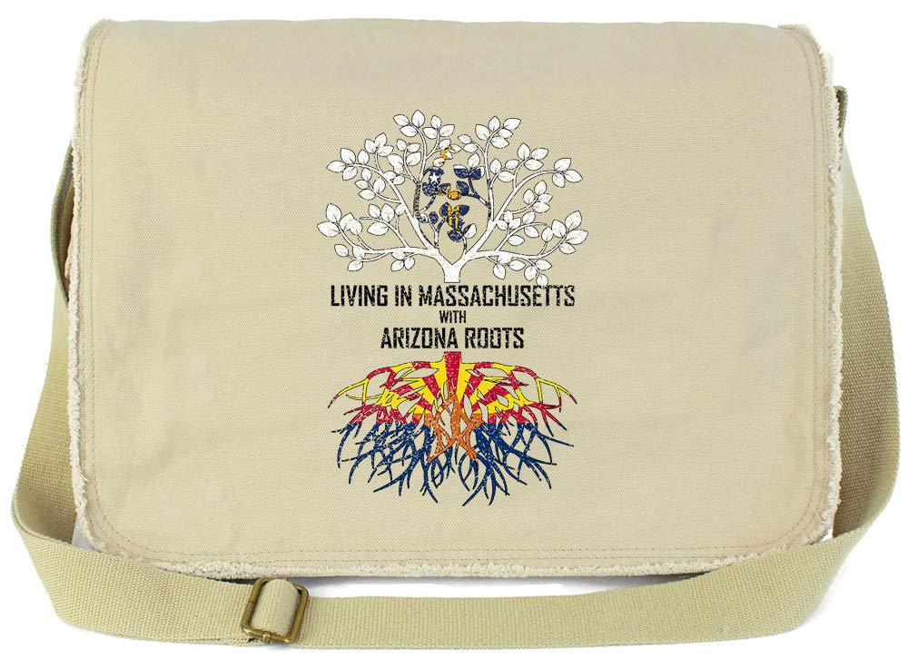 Tenacitee Living In Massachusetts with Arizona Roots Grey Brushed Canvas Messenger Bag