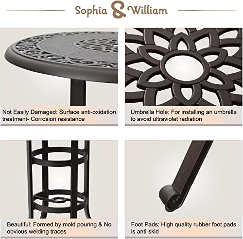 Sophia William Patio Bar Table with Umbrella Hole, Outdoor Modern Cast Aluminum Outdoor Round Bistro Table, 32 Dia x 41 H