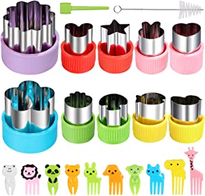 Vegetable Cutters Shapes Set, 10pcs Mini Cookie Cutters, Vegetable Cutter and Fruit Stamps Mold + 10pcs Cute Cartoon Animals Food Picks and Forks -for Kids Baking and Food Supplement Accessories