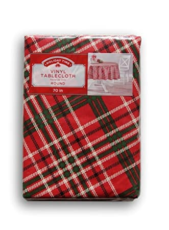 Christmas Holiday Themed Flannel Backed Vinyl Tablecloth   Red And Green  Plaid (70)