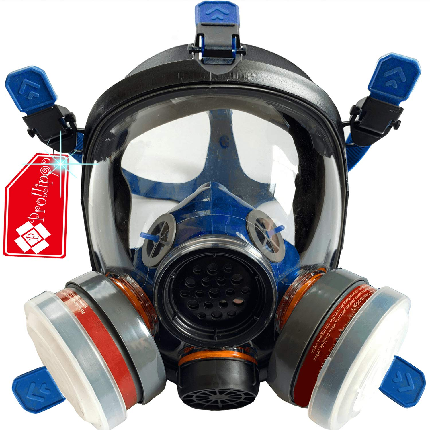 Full Face Organic Vapor Respirator - Bio Gas Respirator for Survival and Emergency - Double Activated Carbon Air Filter For Paint Spray Woodworking by Prollipop