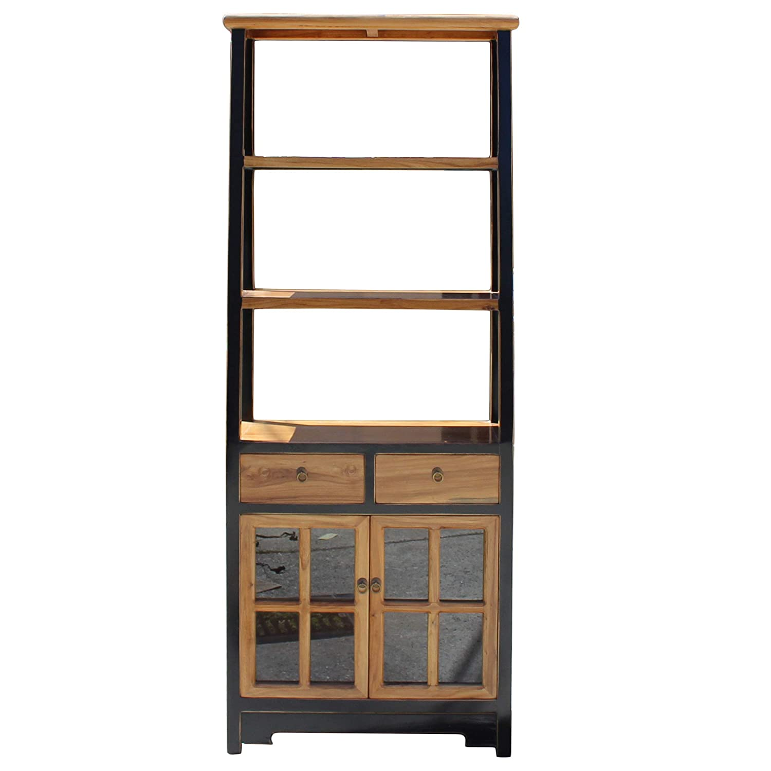 Amazon.com: Oriental Black Brown Glass Door China Bookcase Cabinet Acs4261:  Kitchen & Dining