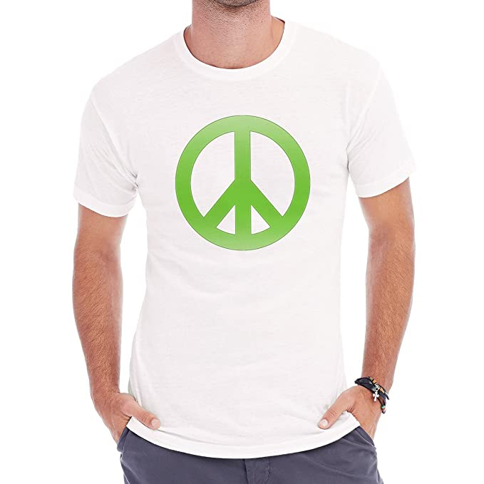 Peace Sign In Glowy Green XXL Hombres T-Shirt: Amazon.es ...