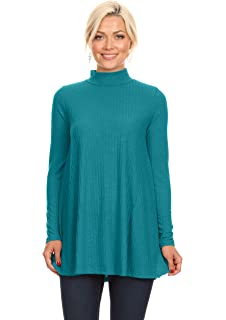 c8f9f5fefb4043 Turtle Neck Top for Women Reg and Plus Size Long Sleeve Tunic Top - Made in