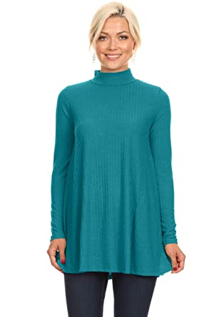 ac2298f567d Jade Tunic Tops for Leggings for Women Mock Neck Ribbed Ladies Pullover  Sweater (Size Small
