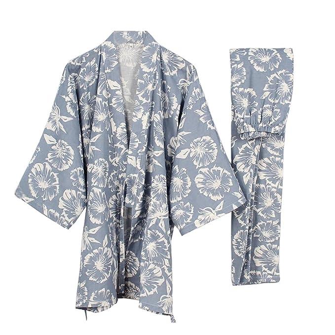 Fancy Pumpkin Trajes de Estilo japonés para Mujer Kimono Pijamas Traje Vestido Conjunto Hibiscus Rosa [
