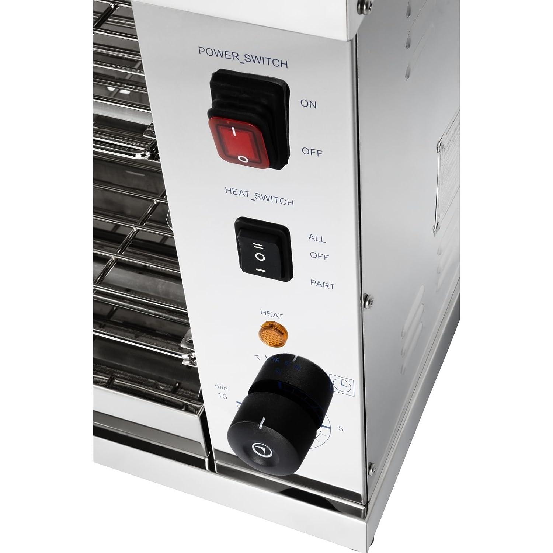 Royal Catering RCET-360 Horno Tostador Hornillo eléctrico Salamandra Cocina (3.250 W, 230 V, 50-300°C, Temporizador 15 min, acero inoxidable): Amazon.es: ...