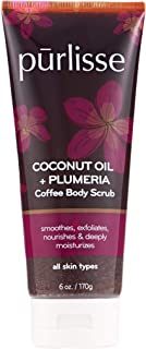 product image for purlisse Coconut Oil + Plumeria Coffee Body Scrub – Moisturizing Exfoliator Scrub - Exfoliates Dead Skin, Deeply Moisturizes - 6 Ounces/170 Grams