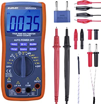 Frequency AstroAI Digital Clamp Meter Continuity Temperature Tests Diodes Current Resistance TRMS 6000 Counts Multimeter Volt Meter with Manual and Auto Ranging; Measures Voltage Tester