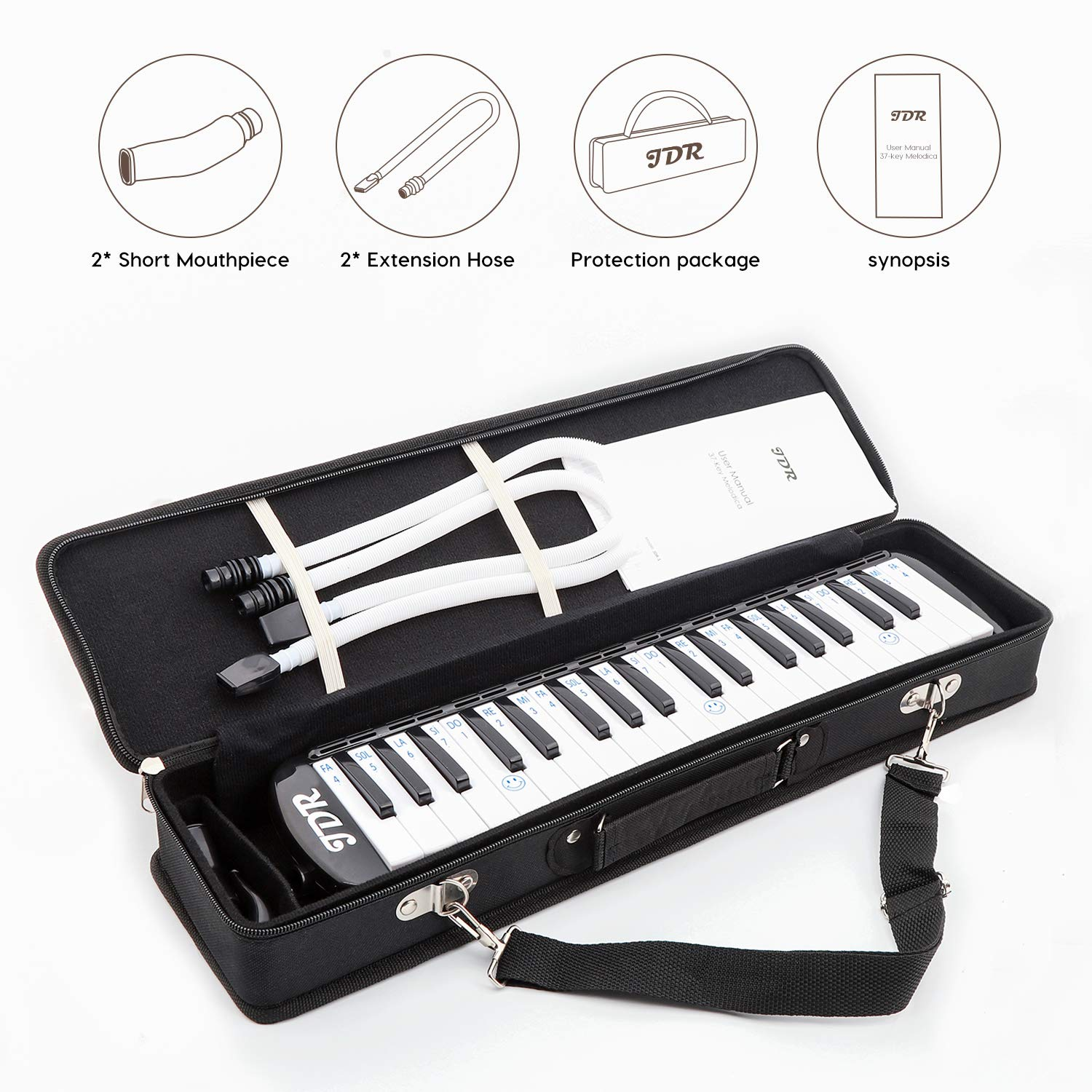JDR Melodica instrument 37 Keys Piano Style Keyboard Standard Tone with 2×Mouthpiece 2×Tube Music Book Case for Kids Music Gift