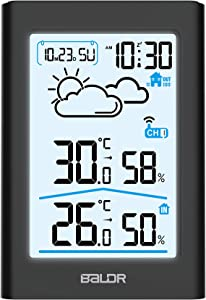 BALDR Indoor Outdoor Thermometer & Hygrometer with White Backlight, Digital Wireless Weather Station, Temperature Monitor, Humidity Gauge Meter, Battery-Operated, Black