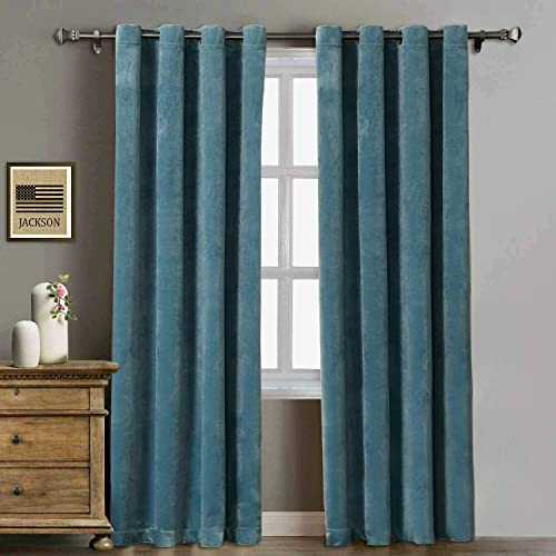 Rose Home Fashion Velvet Curtains for Living Room – Soft Luxury Thermal Insulated Curtains, Grommet Curtains, Set of 2 Panels 50×96 Aqua Mist