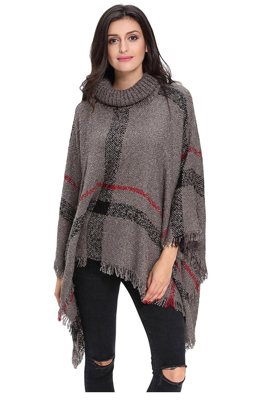 YACUN Women's Turtleneck Tassel Cape Sweater