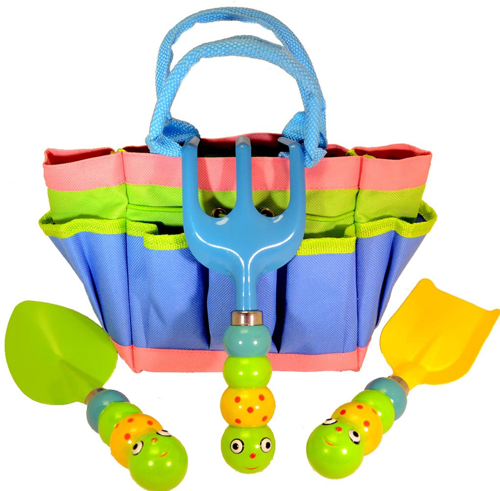 Bo Toys and Gifts Kids Garden Tool Set with Tote , Tools Handles Made As  Cute Bugs