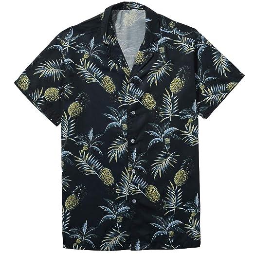 4a13346260 ZIOLOMA Men's Short Sleeve Tropical Pineapple Shirt Beach Hawaiian Shirt