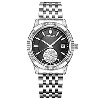 Binlun Armband Analog Automatik Mit Edelstahl Uhr Schwarz Herren 43AjL5R