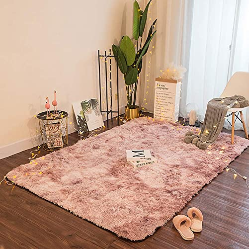 ZFHTAO Faux Sheepskin Rug, Rectangular Fluffy Rug Shaggy Rugs Carpets Shaggy Faux Lambskin Mattress Fur Sheepskin Rug Long Plush Carpet for Home Decor – Pink 180x270cm
