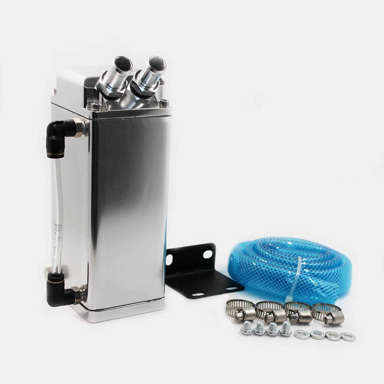 Modauto - Depósito Aceite de Coche, Decantador de Aceite, Captura de Aceite de Motor, Aluminio Pulido, Cuadrado, Boquillas Grandes, Modelo E084SV, ...
