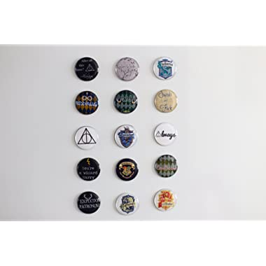 Refrigerator Magnets - Harry Potter Theme Hogwarts House Crests / Spells