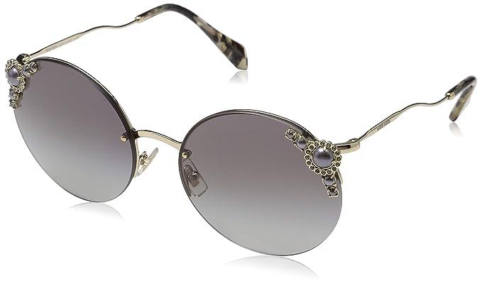 a178fccf3f Amazon.com  Miu Miu MU52TS WO43M1 Pale Gold MU52TS Round Sunglasses ...
