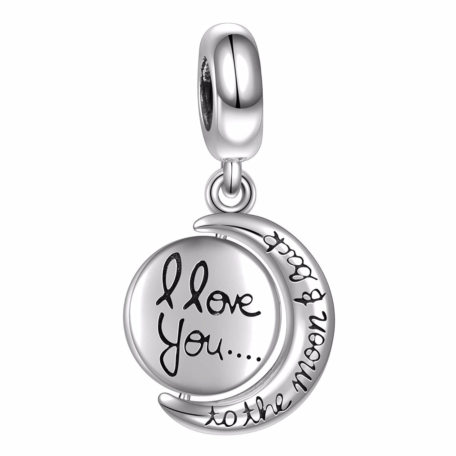Hqcrow I Love You To The Moon And Back 925 Sterling Silver Double Dangle Charm For European Bracelets by Hqcrow